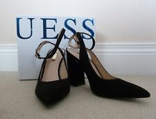 GUESS Black Suede Leather Pointed Toe Ankle Strap Block Heel Shoes EU 36 UK 3
