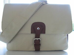 Quality Large Canvas Satchel Messenger Laptop College Travel Bag Light Khaki