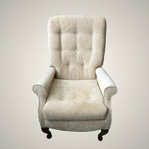 Refurbished Cream Fireside Arm Chair with Queen Anne Legs