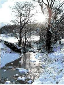 """""""Winter Stream"""", Lake District,. 14 count, by Daisy Hill Designs Full Kit"""
