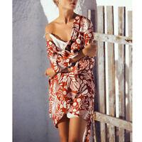 Boho Chiffon Cardigan Kimono Floral Print Beachwear Swimsuit Cover Up 3/4 Sleeve