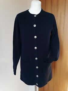 COTSWOLD COLLECTION Navy Blue Lambswool Cardigan  Silver Buttons Pockets S 10 12
