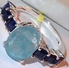 Rough Cut Madagascar Paraiba Apatite Ring w/Lab Blue Sapphire in Sterling Silver