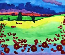 Red Poppies Contemporary Landscape Watercolour Painting on Paper 2000-Now Europe