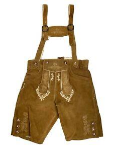 Bavarian LEDERHOSEN Real Suede Leather Embroidered Suspenders Shorts Trachten S