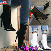 Fashion Women Rivets High Heels Ankle Stilettos Pointed Toe Boots Shoes Zipper