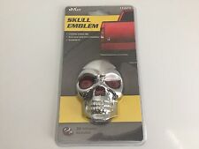 Skull Emblem Chrome Abs Plastic 3-D Dome Stick On Decal Car's,Truck's,Suv's,Rv's