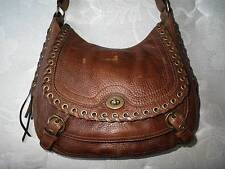 Coach Ltd Ed Studded Lace Flap Tobacco Leather LG Abbey Satchel HOBO Purse Bag
