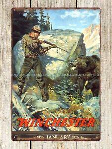 retro signs Winchester calendar rifle firearm hunter hunting bear metal tin sign