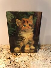 Vintage Cedar Wood Orange Calico Kitty Cat Jewelry Trinket Hinged Box