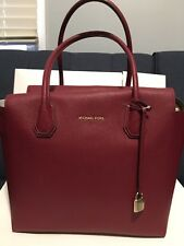 MICHAEL KORS MERCER CHERRY RED LEATHER LARGE SATCHEL BAG Handbag New NWT Top Zip