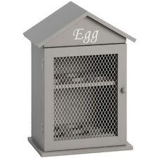 Sturdy Wooden Wood House Hut HEN CHICKEN EGG HOLDER Wall Storage Box in Grey