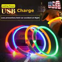 USB Rechargeable Waterproof Pet Dogs Collar LED Flashing Light Up Night Safety