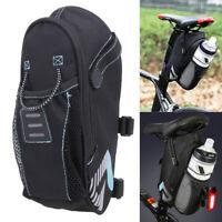 Bicycle Saddle Bag With Water Bottle Pocket Bike Rear Bags Seat Tail Bag Pocket