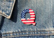 QAnon WWG1WGA MAGA Great Awakening American Flag Q Anon Button Pin