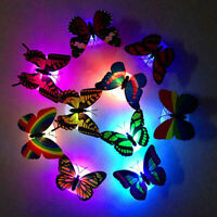 1/10Pcs Color Changing Cute Butterfly LED Night Light Home Room Desk Wall Decor