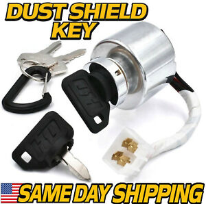 Key Switch Replaces Kubota 66101-55200 TG1860G ZD18 ZD21 ZD28 4 KEYS & Carabiner