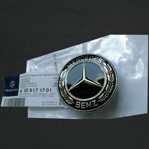 BLACK ABS Flat Hood Emblem Ornament logo 57MM For Mercedes Benz C E S L Class