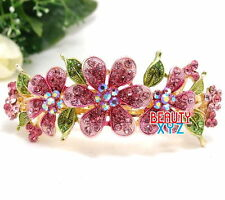 Pink Rhinestones Crystal Gold Tone Metal flower hair claw clip Barrette #7
