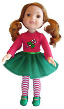 Christmas Outfit + Glitter Shoes for American Girl WELLIE WISHER Doll Wishers
