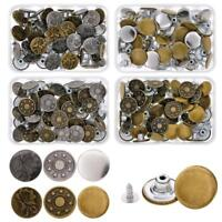 40 Sets Jeans Button Denim Clothes Tack Buttons Metal Replacement Craft Kit KK