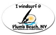 "I Windsurf @ Plum Beach, Ny Bumper/Window Sticker Oval 3"" X 5"""