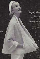 Vintage Knitting PATTERN to make Knitted Coat Cape Retro Modern Jacket 50s CoatC