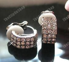 Comfy Clip on Rhinestone Crystal Curved Stud Earrings Studs Diamante Silver PL