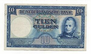 NETHERLANDS 10 GULDEN 1949 PICK 83 LOOK SCANS