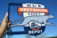 OLD STYLE GREYHOUND BUS LINES GREYHOUND DOG DIECUT FLANGE SIGN MADE IN USA MINT