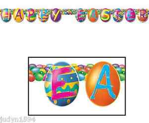 HAPPY EASTER JOINTED EGG BANNER STREAMER GARLAND HANGING PARTY DECORATION PROP