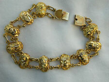 "Egyptian 18K Gold Authentic Scarab Bracelet 7.75"" Unique (By Order)"