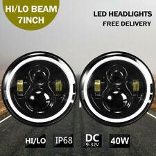 "2X 7"" Round 40W LED Hi-Lo Headlights Turn Light For Jeep LJ Land Rover GQ PATROL"