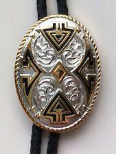 Western Bolo Tie Aztec Design Silver/Gold Oval
