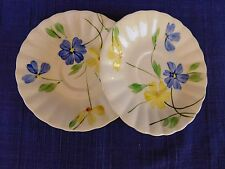 Blue Ridge Southern Potteries SAUCERS - set of TWO (2)  Blue & Yellow Flowers