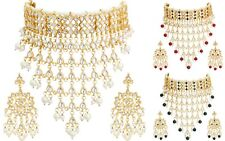 Indian Kundan Pearl Gold Plated Fashion Jewelry Bridal Choker Necklace Set
