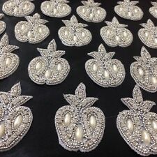 Pearl Silver Ivory Applique,Motif,edging,trim,sequins,beads (4.5 x 7cm Approx)