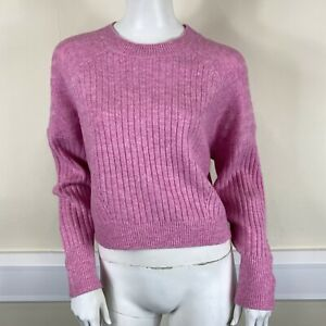 Topshop Ladies Pink Ribbed Knit Short Cropped Long Sleeved Jumper Top UK Size 12