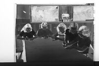 (1) B&W Press Photo Negative Children Crafting Project on Table - T2734