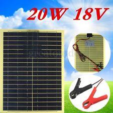 NUEVO 20W 18V Panel Solar Panels Solarpanel +2m Cable +30A Pinzas de Cocodrilo