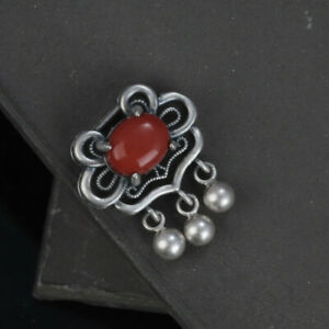 A22 Pendant Flower Red Agate Silver Balls Sterling Silver 925