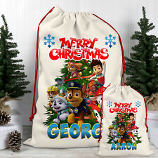 Paw Christmas Sack Patrol Santa Bag Personalised Present Xmas Boy Gift children