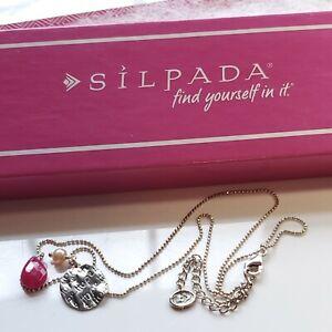 Designer Signed Silpada 925 Sterling Breast Cancer Awareness Hope Necklace NIB