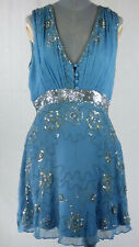 Temperley London Vintage Silk Silver Sequins Floral Embroidered Slip Dress UK 12