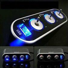 3 Port Triple Car Cigarette Lighter Socket Splitter 12V/24V+Switch + USB Charger