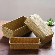 Pure Hand-Woven Seagrass Storage Basket- Bathroom&Home Desktop Organizer Baskets