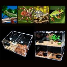 2/4 Grid Reptile Cage Breeding Box Tarantula Insect Lizard Clear Tank Pet ToolUs