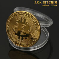 10x Sets Gold Plated Bitcoin Coin Collectible Gift BTC Art Collection Physical
