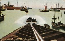 LAUNCH OF THE BARRY LIFEBOAT, BARRY DOCKS, GLAMORGAN, WALES : POSTCARD (1907)