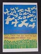1960s ORIGINAL FLOWER POWER FOREST BIRD POSTER BY RILKE IN THE MOVIE LOVE STORY